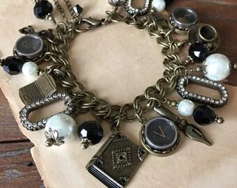 Word Count Vintage Typewriter Key Charm Bracelet. Antique Bronze with Black Keys. Gift for Writers.