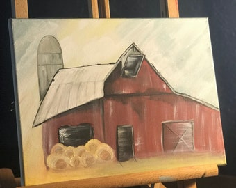 Acrylic red barn paint on canvas