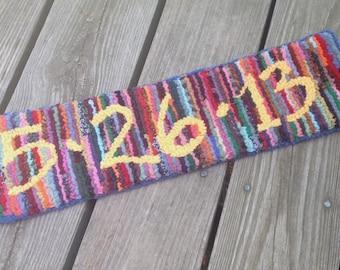 Handmade to Order - Custom Date Banner Hand Hooked Rug