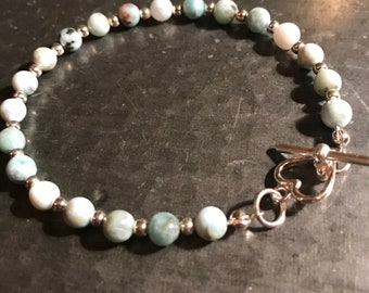 Larimar bracelet with sterling silver heart toggle clasp