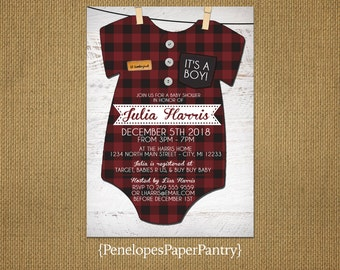 Rustic Baby Boy Shower Invitation,Buffalo Plaid Onesie,Red and Black,Plaid Flannel Onesie,White Barn Wood,Personalize,Printed Cards,Envelope