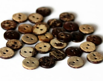 30pcs 50pcs 100pcs Coconut Shell Buttons 10mm Brown Natural Wooden Buttons - NW23