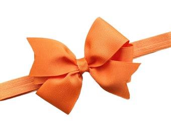 Orange baby headband - orange bow headband, orange newborn headband, bow headband, baby bow headband, orange headband, baby headbands