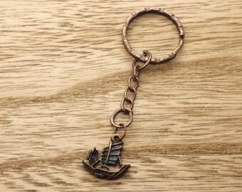 Copper Tone Sailing Boat / Ship Keyring Gift Idea