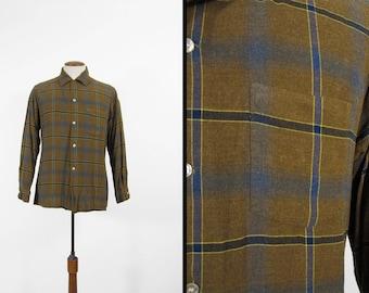 Vintage Arrow Chevella Rayon Shirt Shadow Plaid Loop Collar Brown - Medium