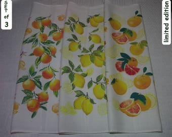 "Citrus Kitchen Towels Set ""Citrus Burst"" Tangerine Lemon Grapefruit Tea Towels Set 100% Linen Fruit Kitchen Set Citrus Kitchen Handmade Set"