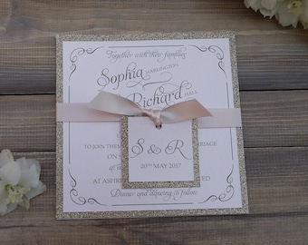 Glitter Wedding Invitation, Blush Pink Wedding Invitation. Champagne/Rose Gold Wedding Invite