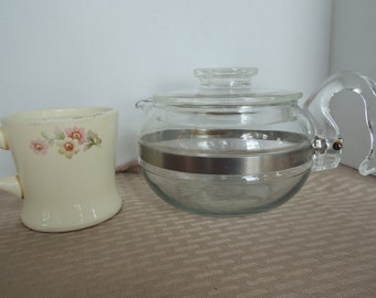Pyrex Flame Ware teapot with lid, 6 cup, Stovetop, Flameware, 8336, Glass tea maker, Vintage, Excellent condition