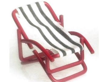 Dollhouse Miniature Small Striped Lounge Chair