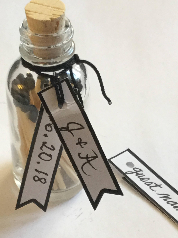 Bottled matches Wedding favor set of 10