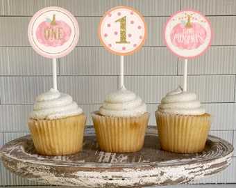 Pumpkin 1st Birthday cupcake topper, Printable, Pink Little Pumpkin is One, Girl, Fall, Instant Download, Digital, Party Decoration, sticker
