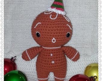 Little Yummy Gingerbread Man Doll crochet pattern PDF Christmas New Year gift