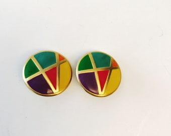 Vintage Multi-color Rainbow Clip-on Earrings Runway Statement 1980s 80s Jewelry Enamel Colorful Button Large Stud Clip-ons Round Earrings