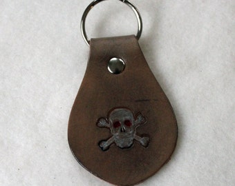 Leather Key Fob - Skull and Crossbones