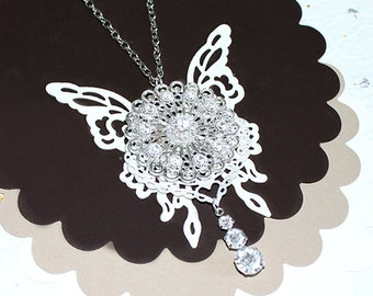 "Steampunk Necklace ""Snow White""- Swarovski Crystal White Butterfly Steampunk Necklace Butterfly Necklace Bride Wedding Jewelry Gift for Her"