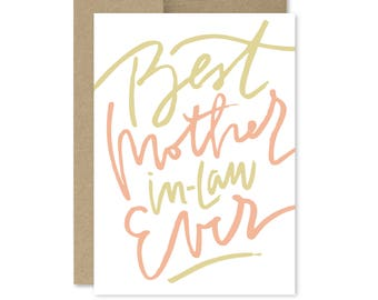 Printable Mother's Day Card - Instant Download - Mother in Law - Best Mother in Law Ever - Best MIL Ever - Mom in Law