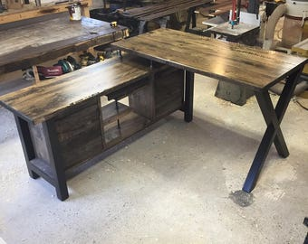Executive Desk / Modern Industrial Rustic / Standing Height FREE SHIP