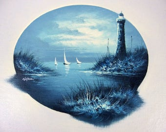 Nathan Original Oil on Canvas Painting Nighttime Seascape Lighthouse Unstretched
