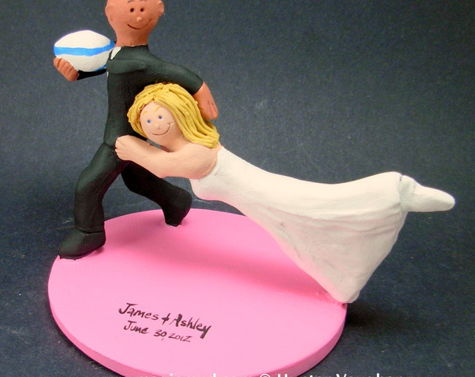 Bride Tackles Groom Football Wedding CakeTopper, Football Mom and Dad Wedding Anniversary Gift/Cake Topper, NFL Football Wedding CakeTopper,
