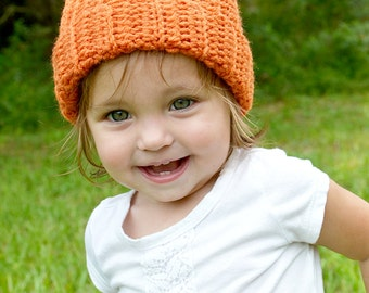 Crochet Baby Pumpkin Hat, Baby Pumpkin Beanie, Photo Prop, Toddler Pumpkin Hat, Crochet Fall Hat/ Halloween Costume Hat