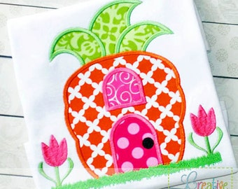 Carrot House Applique Machine Embroidery  Design 4 Sizes