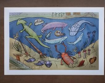 Prehistoric Sea Print (13 x 19)