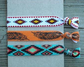 Southwestern Aztec Print Elastic Hair Ties Hair Elastics Hair Rubber Bands Feather Tribal Native American Indian Boho Orange Turquoise Blue