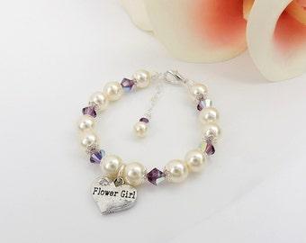 FREE US Shipping Swarovski Pearl And Crystal Flower Girl Heart Bracelet Flower Girl Heart Charm Bracelet  Flower Girl Gift Pearl Bracelet
