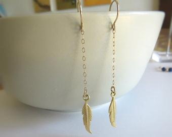 gold feather earrings, feather earrings, dainty jewelry, gold earrings