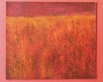 Memories of a Prairie Fire Mixed Media Painting Mounted and ready to frame
