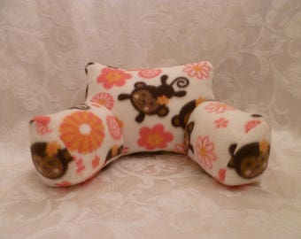 18 Inch Doll Backrest Pillow/ Bed Pillow Hand Made, Monkeys & Flowers Backrest for American Girl Dolls and Similar Size Dolls