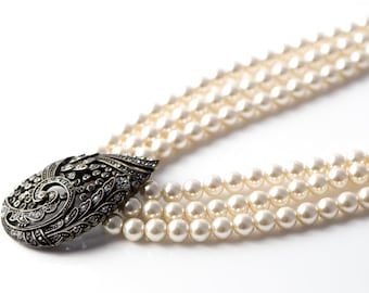 "Estate Heidi Daus ""Tiered Tapestry"" Three Strand Faux Pearl and Crystal Necklace"