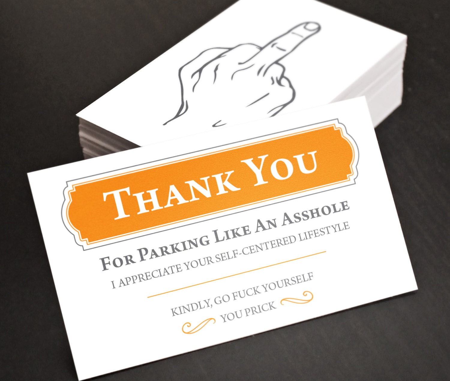 Bad Parking Cards Middle Finger Funny budget gift for Dad