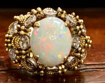 Opal Diamond 14k Gold Ring