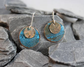 Lovely Copper Earrings with Blue Patina and Copper Etched Overlays.  (123117-012)