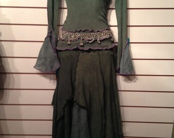 Forest Green Long Pixie Skirt