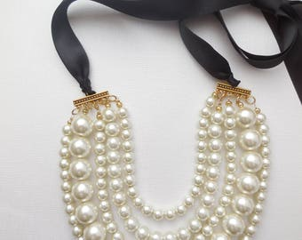 Cream ivory gold chunky statement pearl necklace with black ribbon