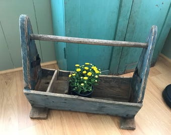 Wooden Toolbox Tool Caddy Carpenters Tote Garden Carrier  Tool Box Primitive  Wood Carrier Farmhouse Farm Rustic Prairie Country Cottage