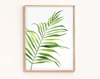 Tropical Wall Poster Printable Minimalist Green Art Watercolor Painting Tropical Leaf Palm Leaf Print Wall Decor Modern Extra Large Wall Art