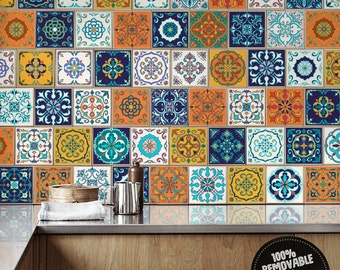 Azulejos Portuguese Tile Stickers, PACK OF 24, Removable, Lisbon, Ceramic, Ornaments, Decorative, Ethnic, Damask, Traditional #24T