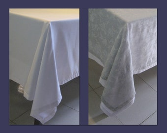 Flowery: Double white tablecloth + Silvergrau stamped.