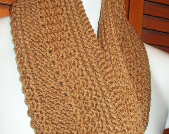 "Hand Crocheted Cowl ~ Dark Beige  32"" x 7"""