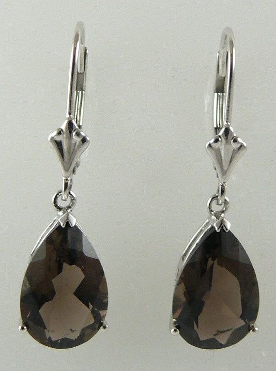 Smokey Topaz Earring 5.09ct 14k White Gold