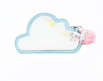 Cloud Clutch - Unicorn Clutch - Fairy Kei - Kawaii Clothing - Unicorn Keychain - Pastel Purse - Harajuku Clutch - Pastel Goth -Lolita Clutch