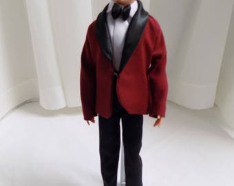 Maroon Tuxedo set--Fits Ken and other similar 12 inch male dolls