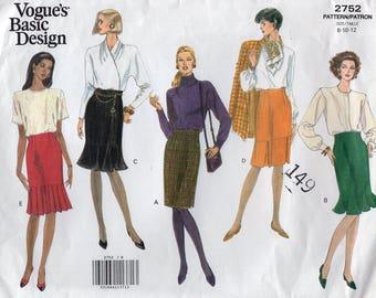 Free Us Ship Sewing Pattern Vogue 2752 Vintage Retro 1990s 90's 1991 Basic Design Flounce High Waist Skirt Size 8 10 12 Bust 31 32 34 Uncut