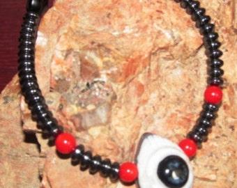 Hematite and Merlinite Eye Bracelet