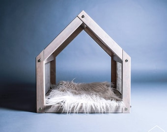 Cat house with a linen cover, Pet house, Pet furniture, Cat bed, Pet sleeping bed