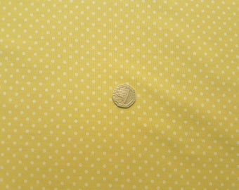 Rose & Hubble 100% Cotton Poplin Fabric - 3mm Polkadot Spot - Lemon - Dressmaking , Quilting, Craft Material