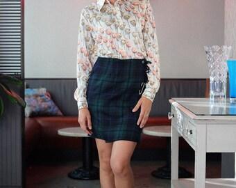 Plaid Wool Wrap Skirt | Tartan Mini Skirt
